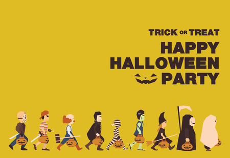 calabazas de halloween: Cartel de la bandera plano o de fondo para la fiesta de Halloween Night.Jason pirata payaso Drácula la momia Frankenstein Bruja Mensajero de la muerte de diseño Spooky Vectores