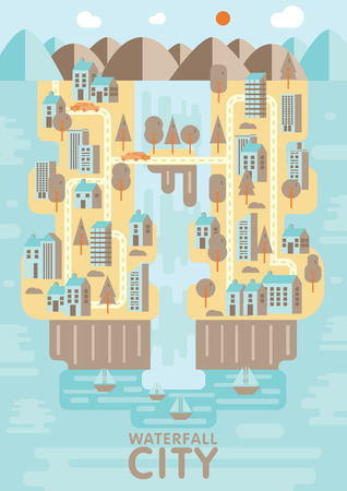 floating island: Waterfall city blue brown and orange tone concept design