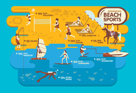 windsurf: Beach sports infographics Summer concept  Volleyball Soccer Sunbathe Ride horse Fishing  Windsurf Surfboard Wakeboard Scuba diving design. Illustration