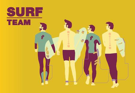 rescue west: Surf team cover design art. Illustration
