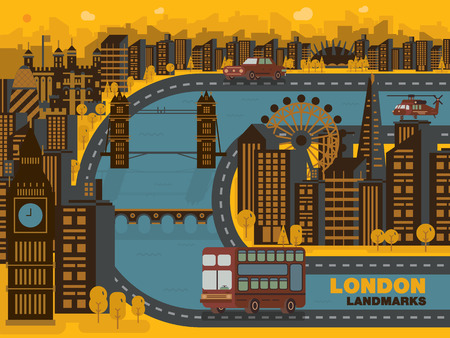 gherkin building: Travel London England cityvector background. Flat trendy illustration design.