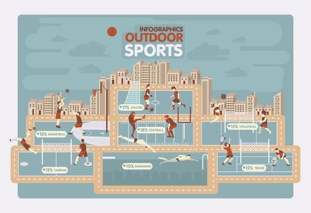 buiten sporten: Buitensporten info grafisch ontwerp Stock Illustratie