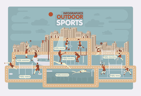 graphics design: Outdoor sports info graphics design Illustration