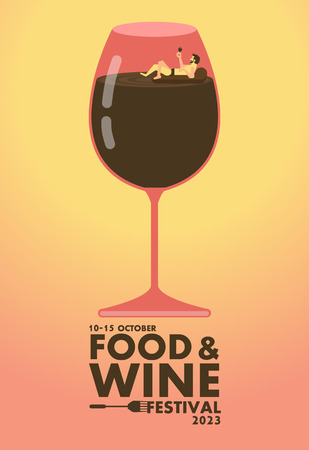 absorb: Food and Wine festival poster ,Relax concept design Illustration