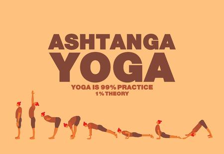 step fitness: Ashtanga yoga Poster design Illustration
