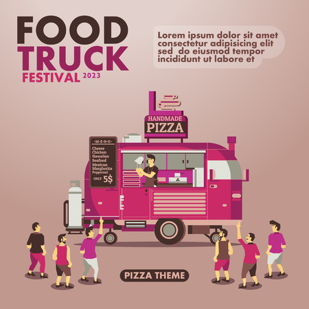 street party: Food truck festival poster with gourmet,Pizza theme design