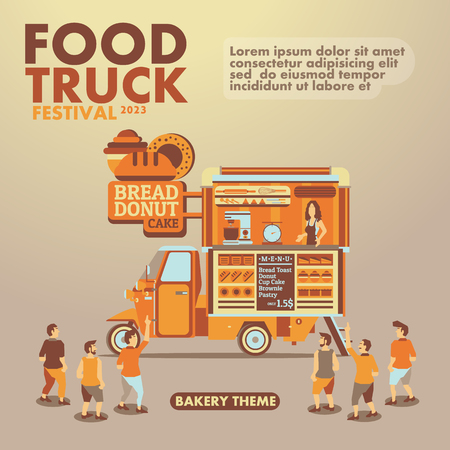 street party: Food truck festival poster with gourmet,Bakery theme design