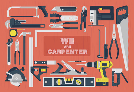 menuisier: Nous sommes charpentier, outils Accueil design élément plat Illustration