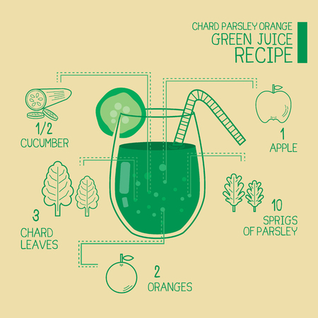 green: Chard parsley orange, green juice recipes great  detoxify design Illustration