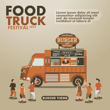 cibo: Camion Food Festival inserzionista con gourmet, disegno Burger tema
