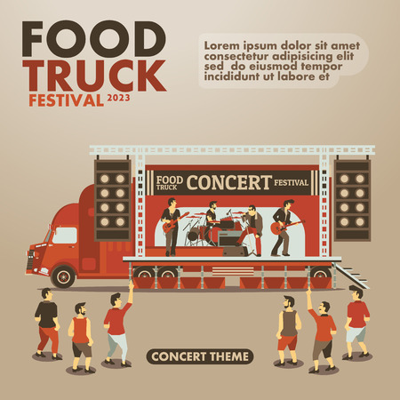 Event: Food truck festival poster with gourmet,Concert theme design