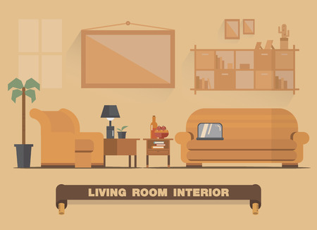 lifestyle dining: Living room interior element , Flat design earth tone art