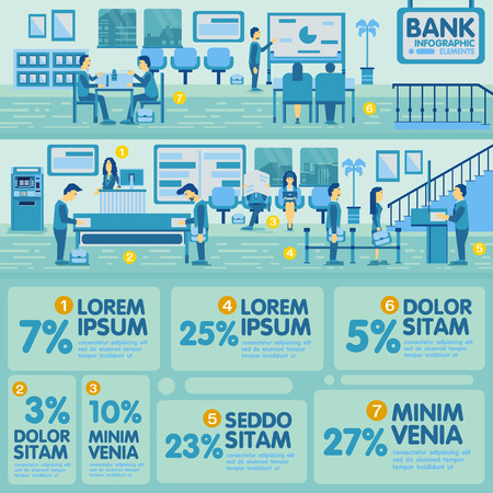 graphic elements: Bank Office Info graphic Elements design Illustration