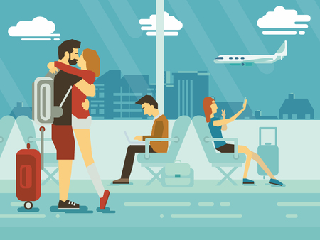 airport people: Embracing Couple and people sitting in airport terminal flat design Illustration