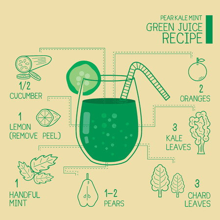ravizzone: Kale pear mint, green juice recipes great  detoxify design Vettoriali