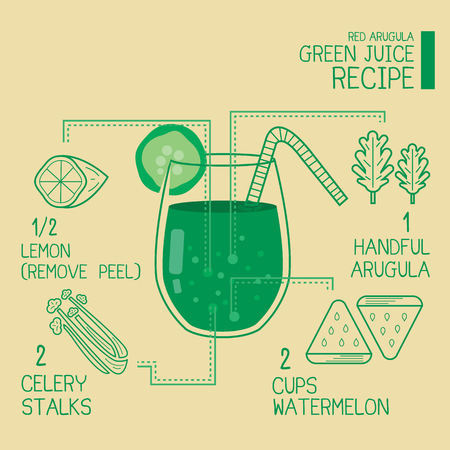 avuç: Red Arugula,green juice recipes great detoxify design Çizim