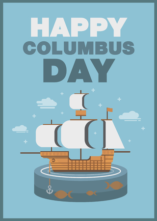 cristoforo colombo: Christopher Columbus day poster ship and ocean theme flat design art