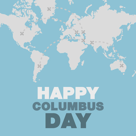 christopher columbus: Christopher Columbus day poster map and ocean theme flat design art Illustration