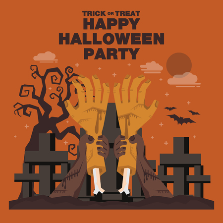 cartoon trees: Poster, Flat banner or background for Halloween Party Night.Hand of Zombie theme design Illustration