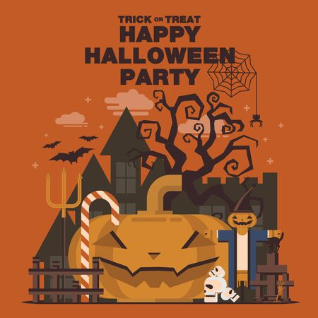 fench: Poster, Flat banner or background for Halloween Party Night.Pumpkin with Scarecrow,Devil fork, Candy, Castle, Tree, Skull design