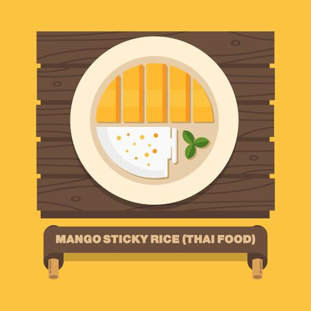 sticky: Thailands national dishes,Thai mango sticky rice - Vector flat design art