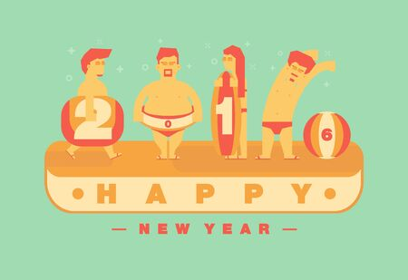 Happy 2016 new year, Vacation to the beach theme.Vector flat illustration design