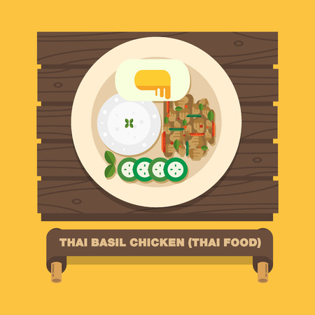 Thailands national dishes,Thai Basil Chicken Pad Kra Pao gai - Vector flat design art