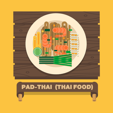 bean sprouts: Thailands national dishes,Thai noodles Pad Thai - Vector flat design art