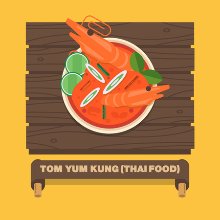 Thailands national dishes,Thai spicy soupTOM YUM KUNG - Vector flat design art Çizim