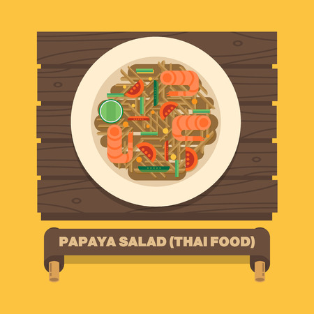 Thailands national dishes,Thai papaya saladSOM TUM - Vector flat design art