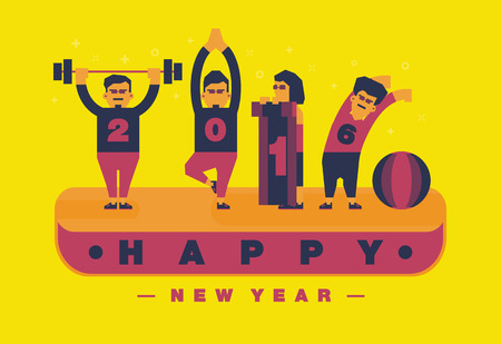 Happy 2016 new year, Exercise and yoga theme.Vector flat illustration design