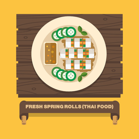 Thailands national dishes,Fresh spring rolls - Vector flat design art