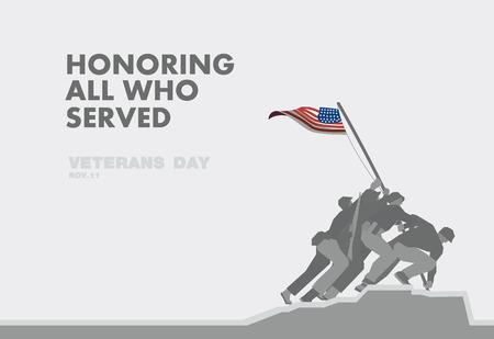 soldado: Honores del día de veteranos, el monumento y el tema de la bandera plana de arte de diseño Vectores