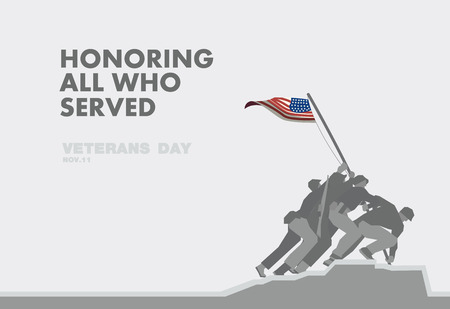 america soldiers: Honors Veterans day,the monument and flag flat theme design art