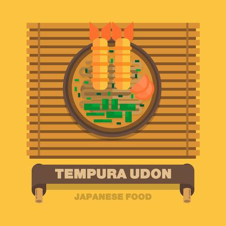 Japans national dishes,Tempura Udon - Vector flat design art