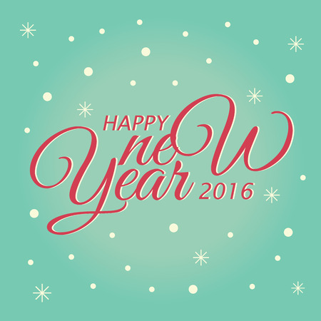 Happy New Year lettering Greeting Card. Vector illustration design Çizim
