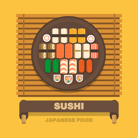 Japans national dishes,Roll Sushi - Vector flat design art