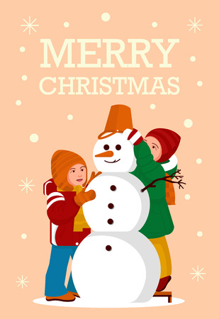 Greeting Card Kids build a Snowman Merry Christmas Party - Vector flat design