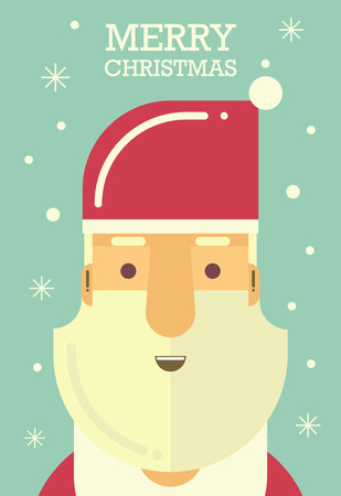 Greeting Card Santa Merry christmas Party - Vector flat design