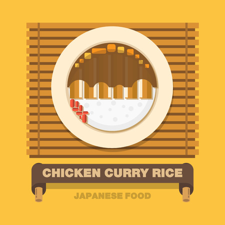 Japans national dishes,Chicken curry rice - Vector flat design art