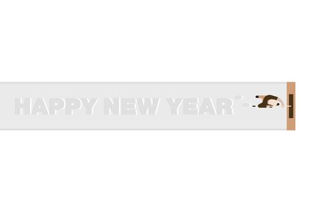Happy New Year lettering on Snow floor Greeting Card,Mop Concept. Vector illustration design