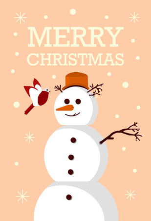Greeting Card Snowman and bird Merry Christmas Party - Vector flat design