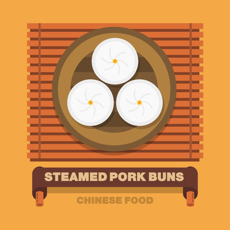 Chinas national dishes,Steamed pork buns - Vector flat design art