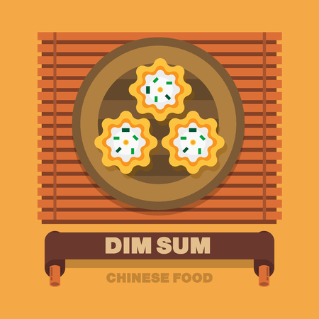 sum: Chinas national dishes,Dim Sum - Vector flat design art Illustration