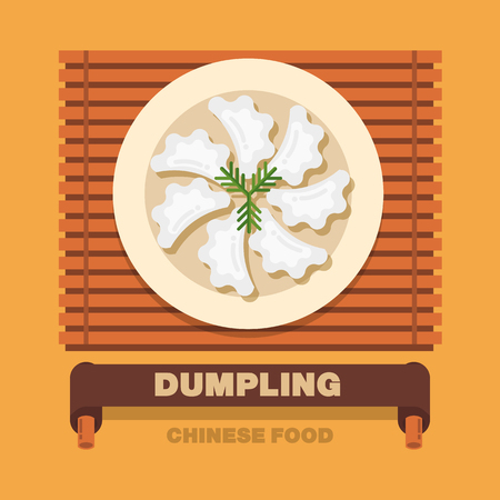 Chinas national dishes,Dumpling or Pierogi - Vector flat design art