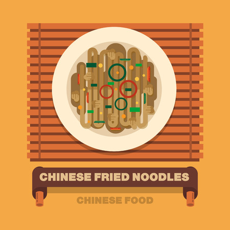 fried noodles: Chinas national dishes,Chinese fried noodles - Vector flat design art