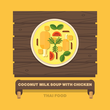 Thailands national dishes,Coconut milk soup with chicken - Vector flat design art Çizim