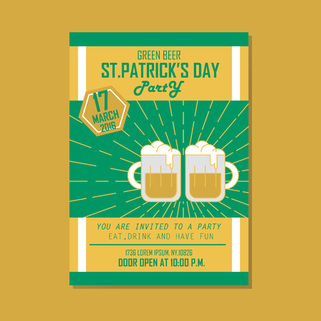 st patricks party: Poster, Flat banner or background for St. Patricks Day Green Beer Party - Vector flat design art