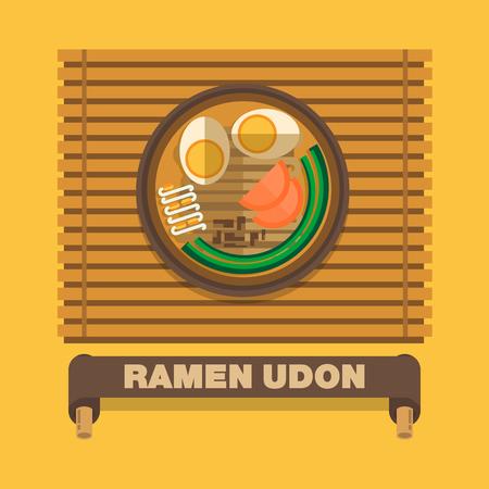 vegetable cook: Japans national dishes,Ramen Udon - Vector flat design art