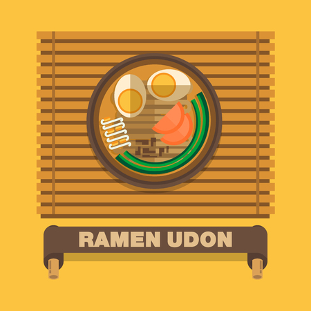 Japans national dishes,Ramen Udon - Vector flat design art